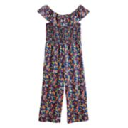 Girls 7-16 My Michelle Smocked Floral Jumpsuit