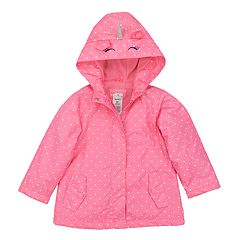 Toddler Girl Carter's Lightweight Unicorn Polka-Dot Hooded Raincoat
