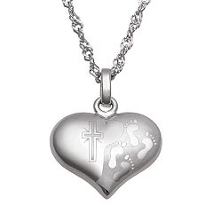 Sweet Sentiments Engraved Footprints Heart Pendant Necklace