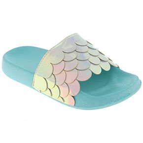 Girls 4-10 Elli by Capelli Mermaid Scale Holographic Sandals