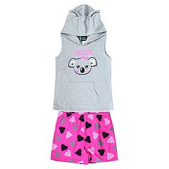 Girls 4-16 Jelli Fish Hooded Top & Shorts Pajama Set