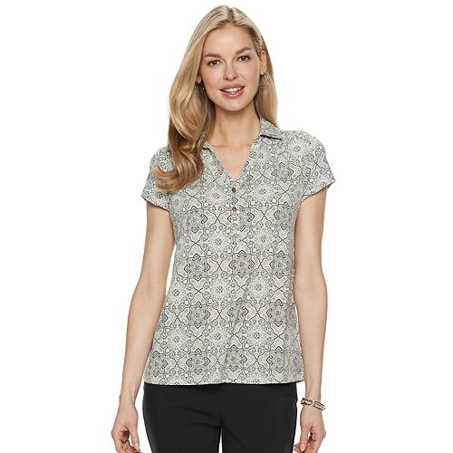 Women's Croft & Barrow® Short-Sleeve Collared Popover