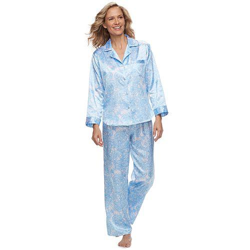 Women's Miss Elaine Essentials Paisley Satin Shirt & Pants Pajama Set