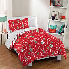 Dream Factory Candy Cane Comforter & Sham Set