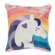 "Dream Factory ""Magic"" Unicorn Flip Sequin Throw Pillow"