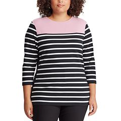 Plus Size Chaps 3/4 Sleeve Striped Top
