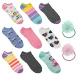 Girls 5-16 Elli by Capelli 9-pack No Show Socks with Hair Accessories