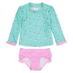 Toddler Girl Kiko & Max Flamingo Rashguard & Bikini Bottoms Set