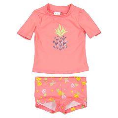 Toddler Girl Kiko & Max Pineapple Rashguard & Board Short Bottoms Set