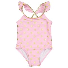 Toddler Girl Kiko & Max Gold Dots One-Piece Swimsuit