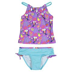 Toddler Girl Kiko & Max Purple Toucan Tankini & Bottoms Swimsuit Set