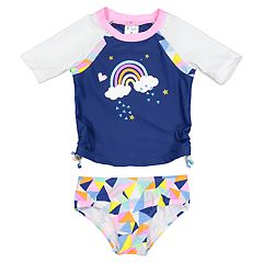 Toddler Girl Kiko & Max Rainbow Rashguard & Bikini Bottoms Set