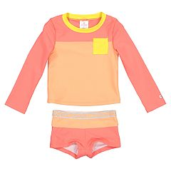 Toddler Girl Skechers Colorblock Rash Guard & Swim Shorts Set