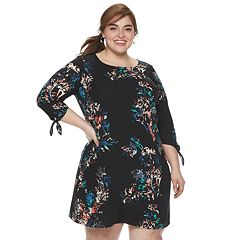 970676121eb Plus Size EVRI Printed Knot Sleeve Shift Dress. Yellow Floral Black ...