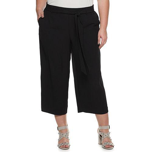270c809ca33cd0 Plus Size EVRI Wide-Leg Cropped Soft Pants