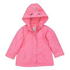 Baby Girl Carter's Lightweight Unicorn Polka-Dot Hooded Raincoat