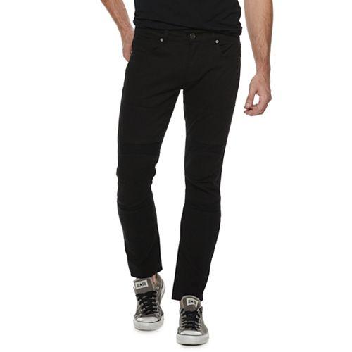 Men's XRAY Straight-Fit Fashion Washed Indigo Moto 5-Pocket Jeans