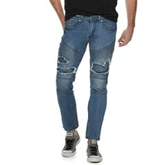 Men's XRAY Straight-Fit Distressed Blue Moto 5-Pocket Jeans