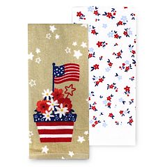 Celebrate Americana Together Flower Pot Kitchen Towel 2-pk.