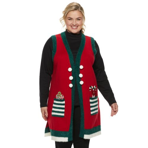 Plus Size Womens Holiday Vest