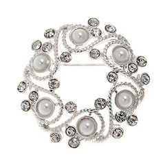 Napier Simulated Pearl Wreath Pin