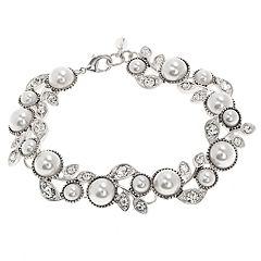 Napier Simulated Pearl Flower Bracelet