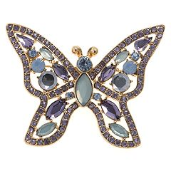 Napier Simulated Stone Butterfly Pin