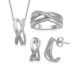 Sterling Silver 1/10 Carat T.W. Diamond Crisscross Pendant, Ring & Earring Set