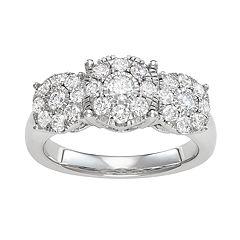 10k White Gold 1 1/10 Carat T.W. Diamond 3-Stone Engagement Ring