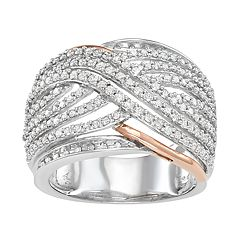 10k Gold Two Tone 1 Carat T.W. Diamond Crossover Ring