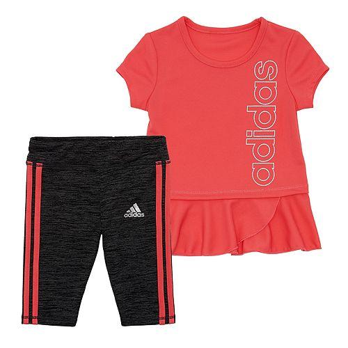 3f4b90710aa Baby Girl adidas Peplum-Hem Tunic & Capri Leggings Set