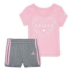 Baby Girl adidas Heart Graphic Tee & Bubble Shorts Set