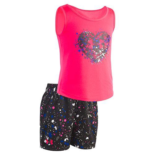 Baby Girl Under Armour Splatter Heart Tank Top & Shorts Set