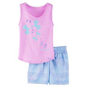 Baby Girl Under Armour Logo Tank Top & Shorts Set