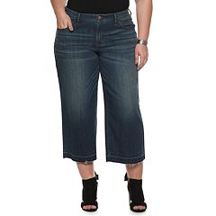 90308cff574 Plus Size EVRI Wide-Leg Crop Jeans