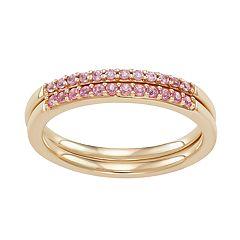 14k Gold Pink Sapphire Band Set