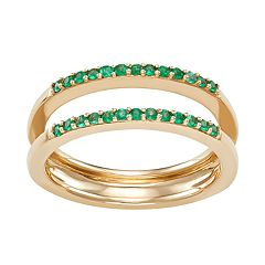 14k Gold Double Row Emerald Ring