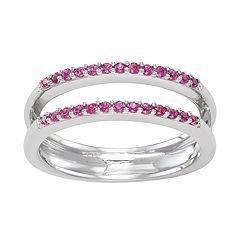 14k White Gold Double Row Ruby Ring