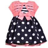Baby Girl Bonnie Jean Striped Polka-Dot Dress