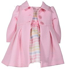 Baby Girl Bonnie Jean Striped Dress & Textured Coat Set