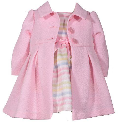 d5c18c714 Baby Girl Bonnie Jean Striped Dress & Textured Coat Set