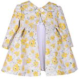 Baby Girl Bonnie Jean Floral Jacquard Dress & Coat Set