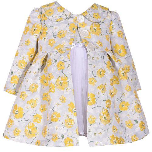 6ab8e608c Baby Girl Bonnie Jean Floral Jacquard Dress & Coat Set