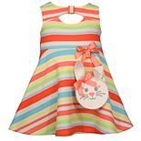 Baby Girl Bonnie Jean Striped Keyhole Dress
