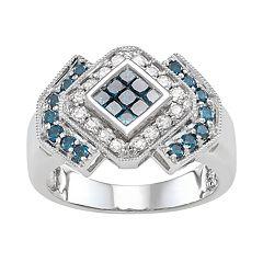 14k White Gold 1 Carat T.W. Blue & White Diamond Ring