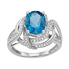 14k White Gold Blue Topaz & 1/3 Carat T.W. Diamond 14k White Gold Ring