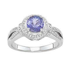 38da07445 14k White Gold Tanzanite & 1/3 Carat T.W. Diamond Halo Ring. clearance