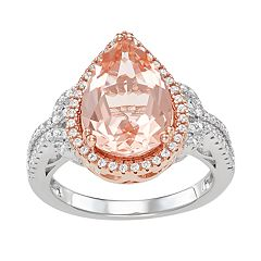 10k Rose Gold Over Silver Morganite & Cubic Zirconia Ring