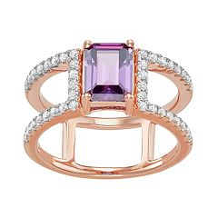 10k Rose Gold Over Silver Simulated Amethyst & Cubic Zirconia Ring