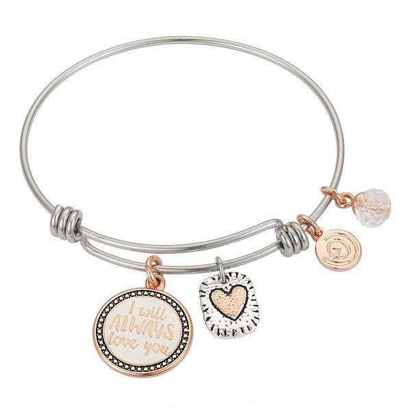 Mother Daughter Heart Bangle Bracelet